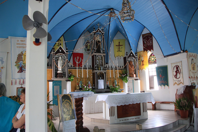Inside Ioane No Te Tatauro, Coral Church, FAKARAVA ATOLL in TUAMOTUS ARCHIPELAGO. FRENCH POLYNESIA