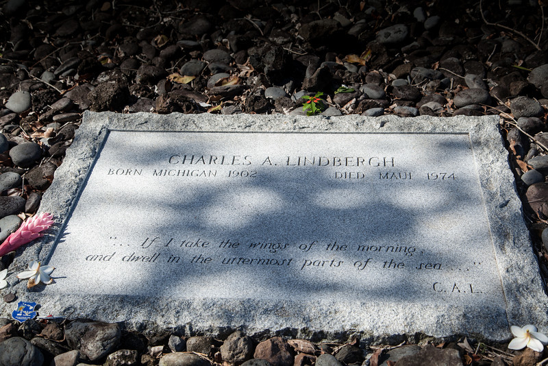 Grave Marker, Palapala Ho'omau Congregational Church, Kipahulu, Maui<br /> Founded 1857<br /> Site of Charles Lindbergh's Grave