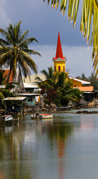 Church by old fish ponds, Huahine, Tahiti