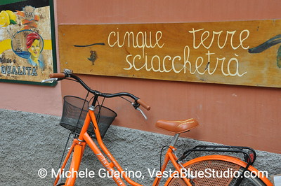 Orange Bicycle, Rio Maggiore, Cinque Terre, Italy