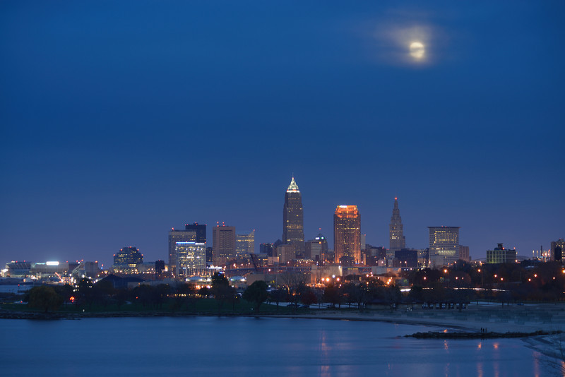 Beaver Moon Rising over Cleveland