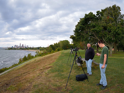 Mike and Lee waiting for the moonrise over Cleveland, from Edgewater Park