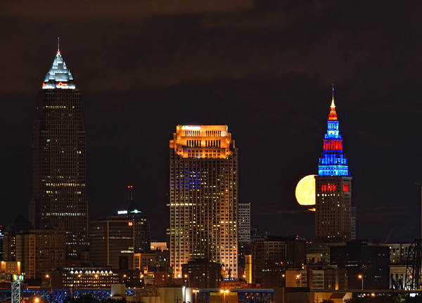 Moon rising near the Terminal Tower