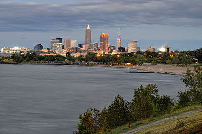 Cleveland, Ohio at Twilight from Edgewater Park