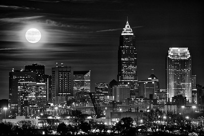 Moonrise in Black and White