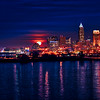 Super Moon rising in Cleveland, Ohio