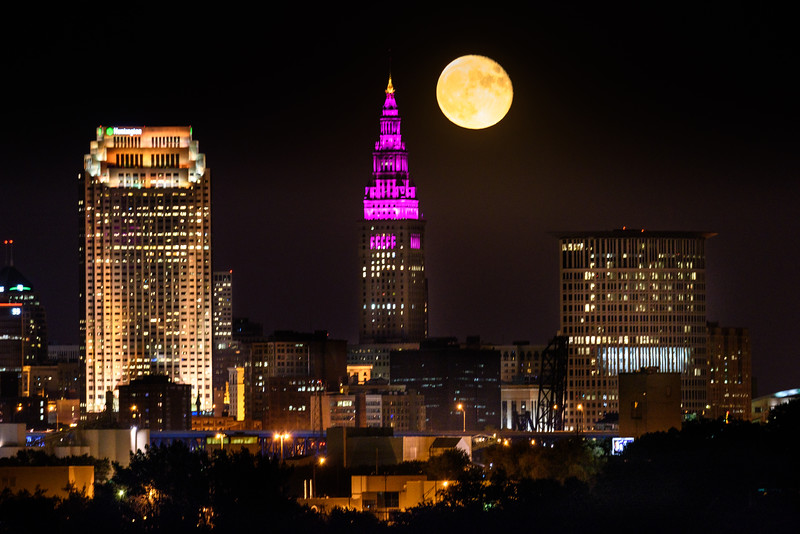October Full Moon Rising Over Cleveland