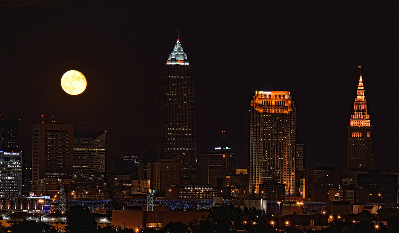 Full Moon Rising over Cleveland