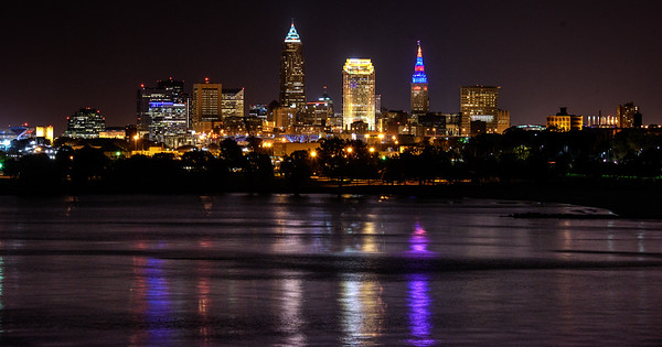 October 2016 Moon Rising Over Cleveland