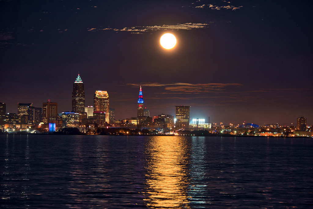 October Full Moon Over Cleveland from Lakewood Park