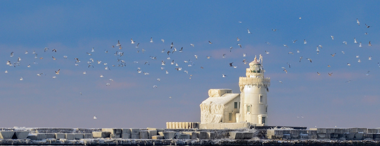 The Cleveland Partially Frozen Lighthouse 2012