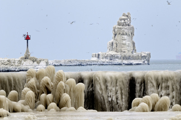 Frozen Cleveland Lighthouse