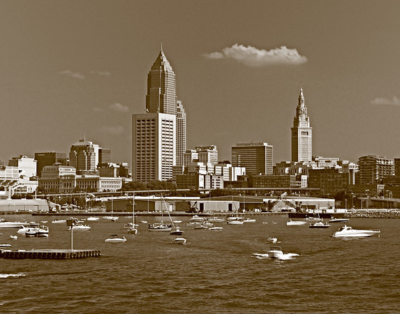 Downtown Cleveland - Sepia Toned