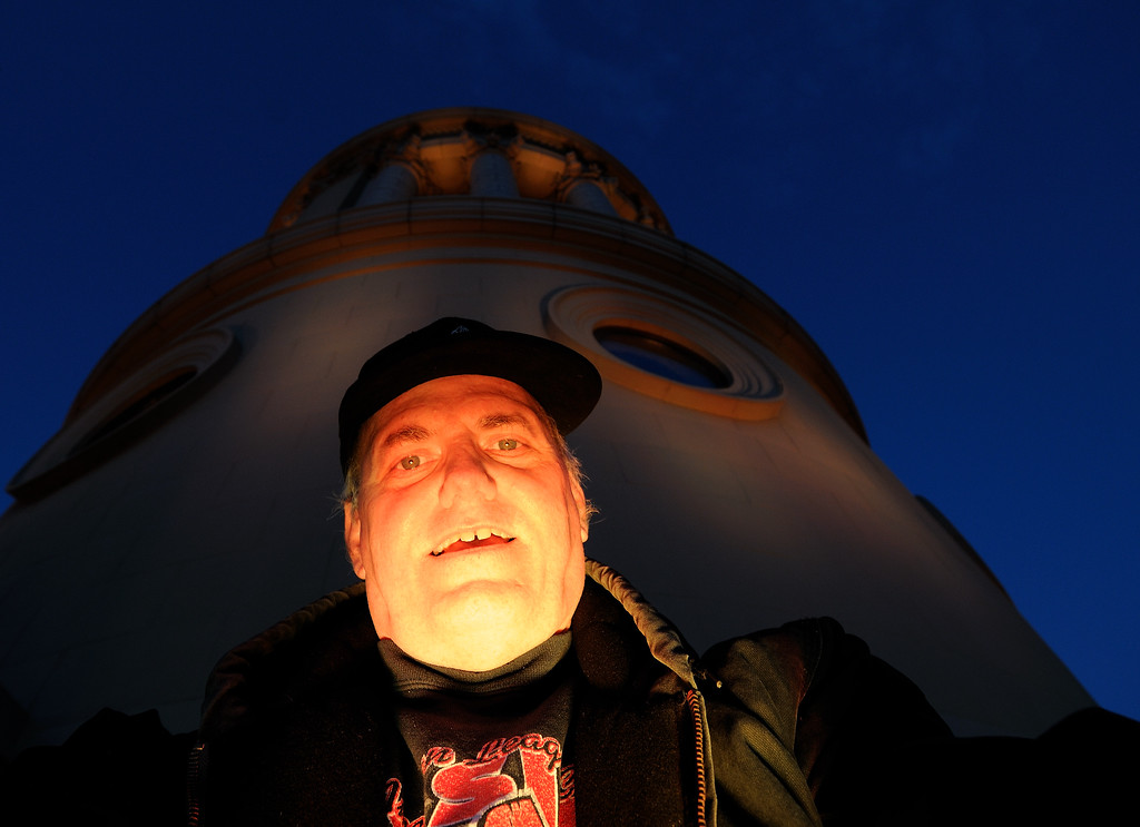 Me lit up by the Terminal Tower LEDs