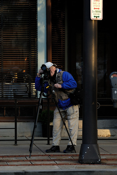 Kirby, taking photos during the Warehouse District shoot.