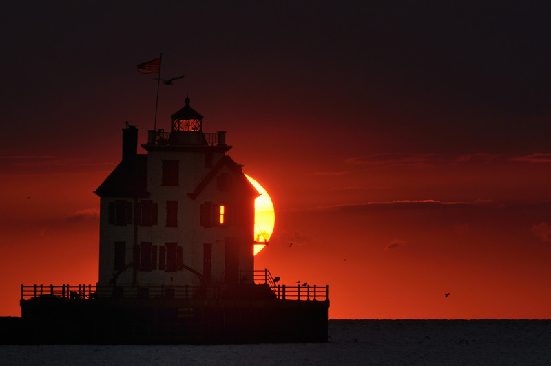 Lorain Lighthouse at Sunset