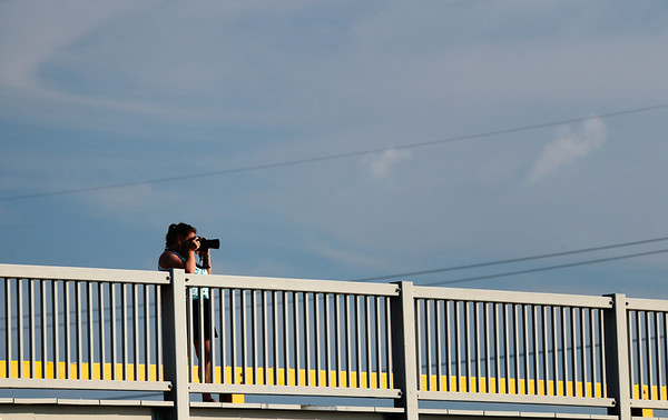 Dona on the Erie Ave. Bridge Lorain Lighthouse