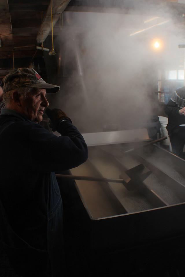 Bolduc Farms Sap House - Explaining the Process<br /> Img_7904<br /> w/Armand Bolduc