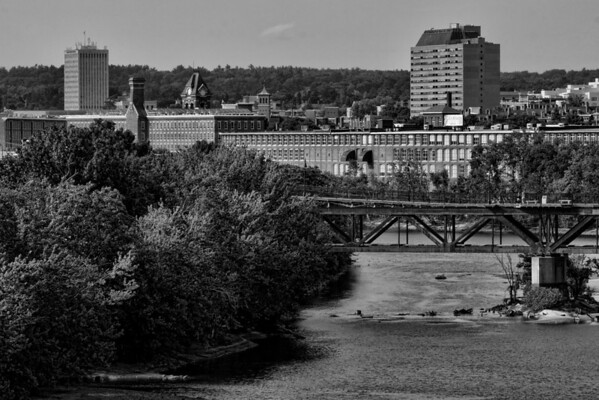 Downtown Upriver B&W Zoom in<br /> Pandora Building and pedestrian Walkway<br /> Manchester, NH