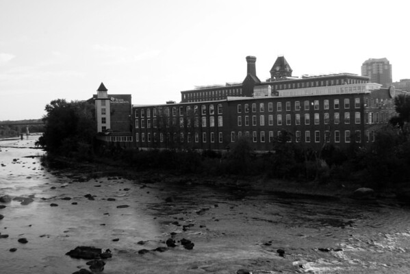 Morning Mills B&W<br /> Taken from the Granite St. Bridge<br /> Manchester, NH