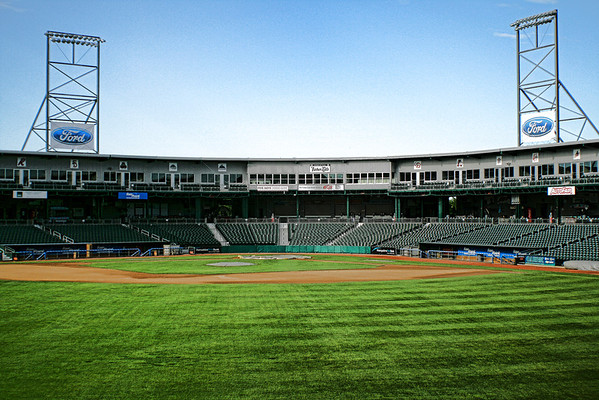 Fisher Cats Stadium<br /> Manchester, NH<br /> Came by one morning, and couldn't get a good shot of the stadium. Put on some charm to the consierge at the hotel in center field, and she let me go out back to get some shots. It pays to be nice, and not give up. I thought about hopping over the wall on the field, but didn't want to push my luck.