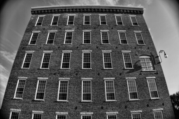Pandora Side View B&W<br /> Pandora Mill Building, Manchester, NH