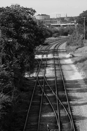Tracks Downtown B&W<br /> Manchester, NH