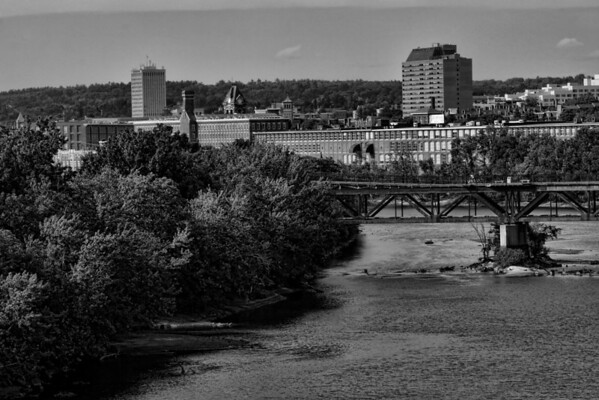 Downtown Upriver B&W<br /> Pandora Building and pedestrian Walkway<br /> Manchester, NH