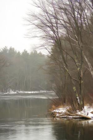 Rainy, Winter day along the Winnepesaukee River<br /> Tilton, NH