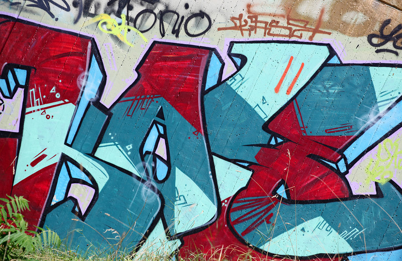 Aug 2013 Geneve Graffiti at near river in Chene Bougeries 1