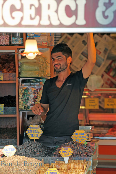 Istanbul: Spice Market - Man selling dried fruits and nuts
