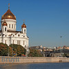 Sunshine and blue sky day at orthodox church Cathedral of Christ the Saviour in Moscow Russia across the Moscow river