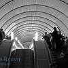 People on escalator in underground station in the Arbatsko Pokrovskaya line