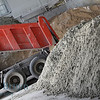 Cement and truck at areated cement brick factory near Moscow