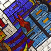 Stained glass panel at the Novolobodskya subway station in Moscow Russia