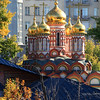 Vibrant colours in sunshine of orthodox church in Moscow Russia