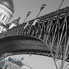 Steel bridge at orthodox church Cathedral of Christ the Saviour in Moscow Russia