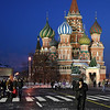 Vibrant colours at night of orthodox church Cathedral St. Vasily the Blessed (Saint Basil's) on Red Square in Moscow Russia