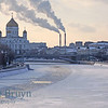Cold winter day with frozen Moscow river and orthodox church Cathedral of Christ the Saviour in Moscow Russia