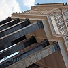 High columns reaching up on a sunny day at the Russian State Library in Moscow Russia