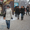 People on Manezhnaya Square Moscow Russia on cold winter day
