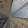 Glass window ceiling and sky view seen from GUM department in Moscow Russia