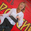 Woman singing in contest near Manezhnaya Square Moscow Russia