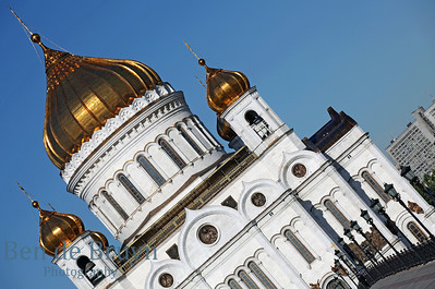 Sunshine and blue sky day at orthodox church Cathedral of Christ the Saviour in Moscow Russia