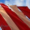 Flags of red white blowing in the wind in Moscow Russia