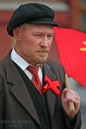 Lenin look alike at Manezhnaya Square Moscow Russia