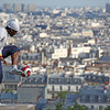 Paris:Montmartre Sacre Cur Man with soccer ball 3 July 2012