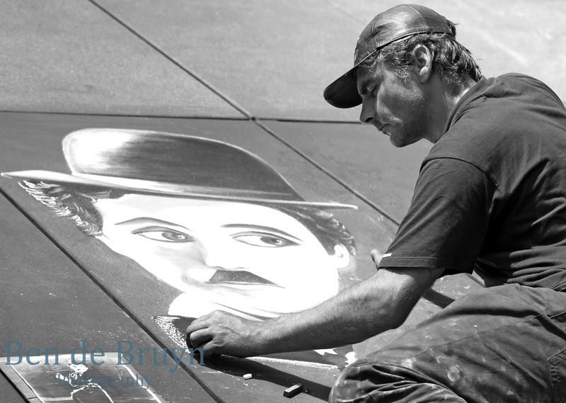 Paris: Street artist near pompidou museum 2 July 2012
