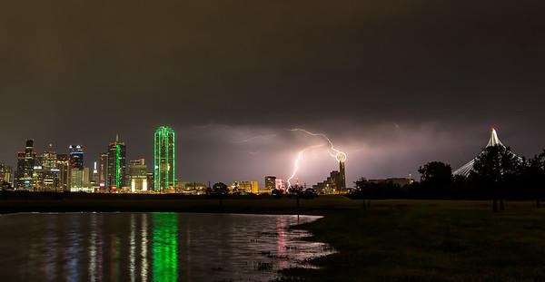 Lightning Strikes Reunion Tower - Dallas, Texas