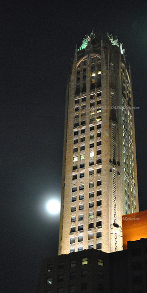 Building at Moonrise - New York City